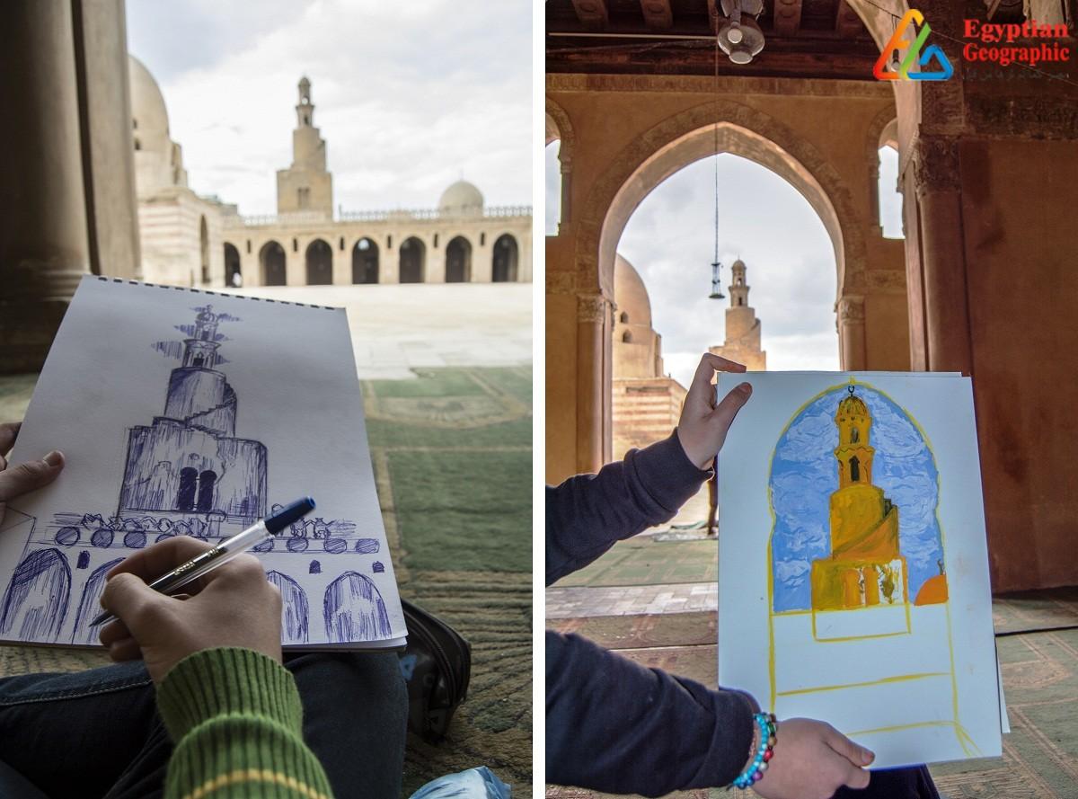 ورشة فنية للأطفال أمام مسجد ابن طولون